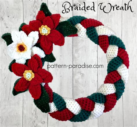 crochet pattern for xmas wreath braided christmas wreath 12weekschristmascal week 4