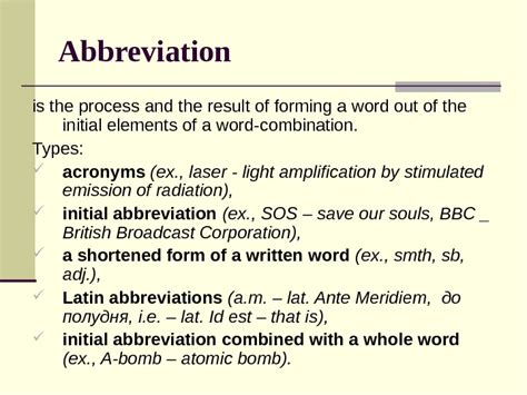 Abbreviated Outline Definition by Lecture 5 Word Formation Lexicology Outline Of