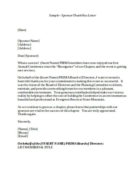 Sponsorship Letter Conference Sle Sponsorship Thank You Letter 6 Exles In Word Pdf