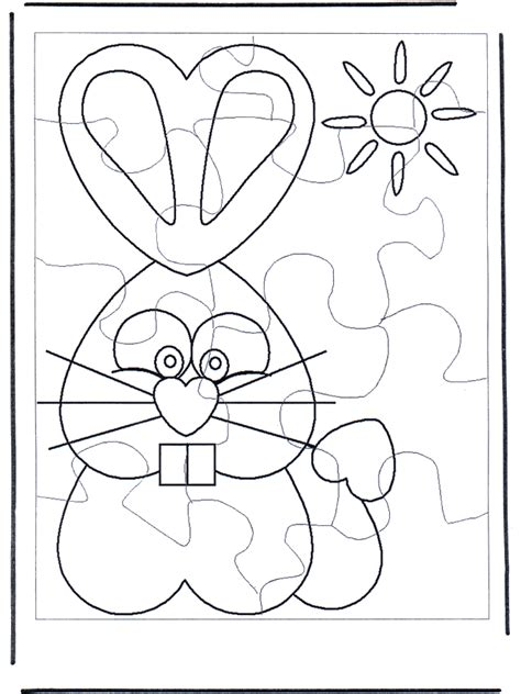 Easter Bunny Puzzle 1 Crafts Eastern Puzzle Coloring Page