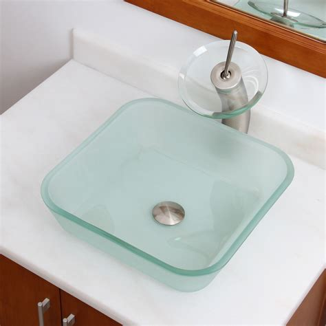 square tempered glass vessel elite 1502 frosted square tempered glass bathroom vessel