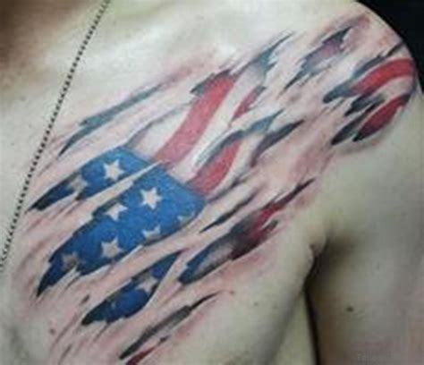 collection of 25 ripped skin mexican and us flag chest