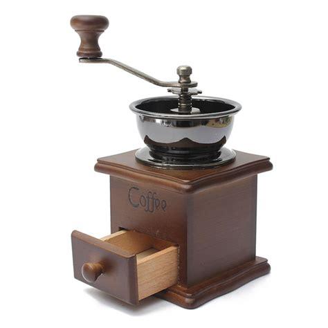 manual driven coffee vintage retro grinder brown