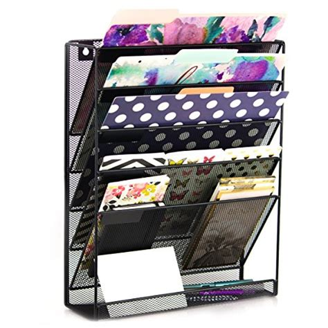 Wall Hanging Desk Organizer Premium Wall Hanging File Organizer Wall Mounted Mesh Metal File Holder With 5 Compartments