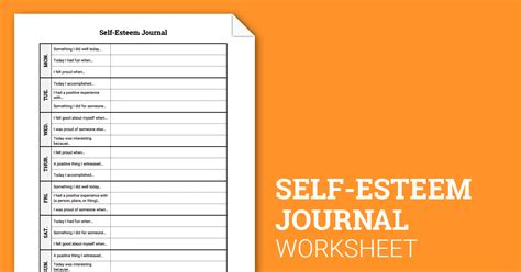 Self Esteem Worksheets For by Self Esteem Journal Worksheet Therapist Aid