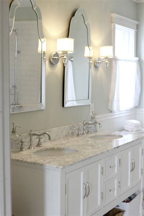 Sinks With Venetian Mirrors And Pretty Sconces Venetian Bathroom Mirrors