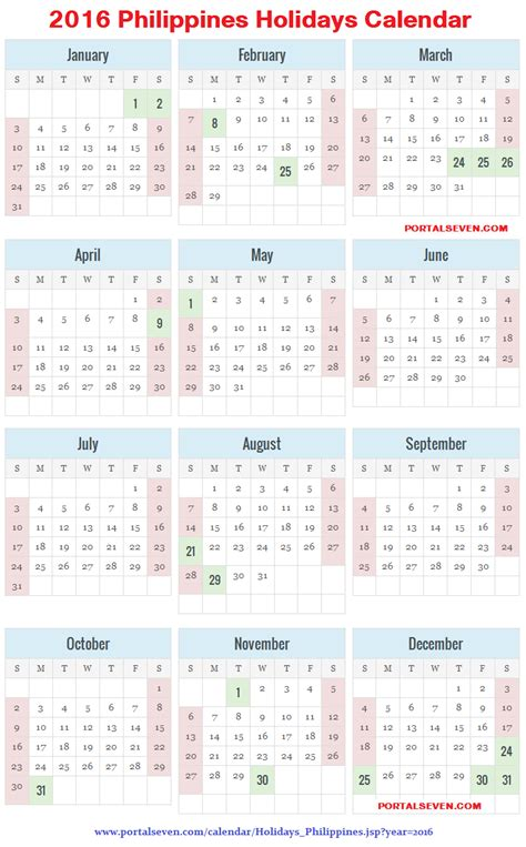 Calendar 2016 Printable With Holidays Philippines Philippines 2016 Calendar Holidays 2016