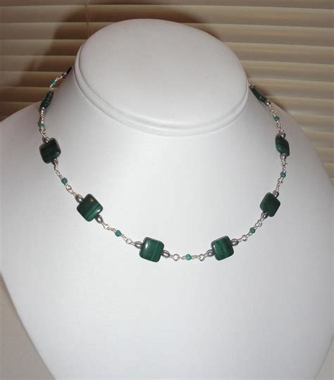 bead necklace jewelry malachite bead necklace
