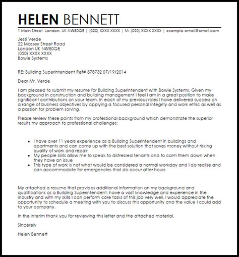 Building Superintendent Cover Letter Sample   LiveCareer