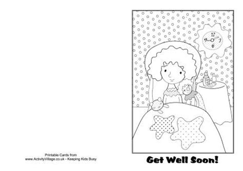 Get Well Soon Card Template Black And White by Get Well Soon Colouring Card 1