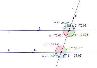 coniugati interni matematicamedie rette parallele tagliate da una trasversale
