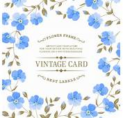 Blue Flower With Vintage Card Vector