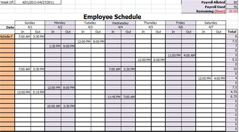 schedule template monthly employee new calendar template