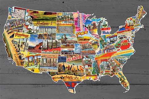 map of lower usa postcards of the united states vintage usa lower 48 map on