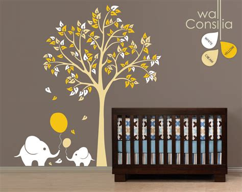 Baby Nursery Wall Decals Tree Wall Decal Elephant Decal Wall Decal Baby Nursery