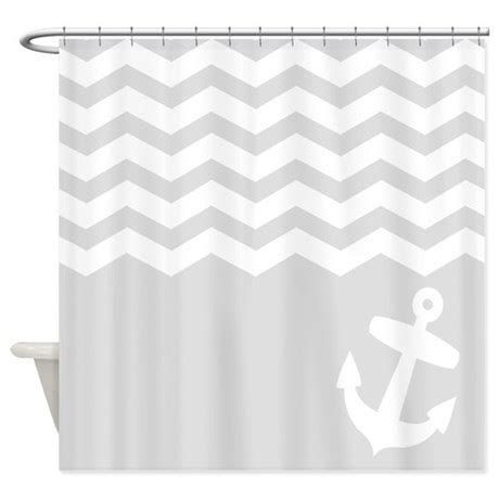 gray and white chevron shower curtain nautical gray chevron anchor shower curtain by