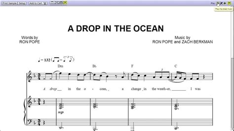 a drop in the quot a drop in the ocean quot by ron pope piano sheet music teaser youtube
