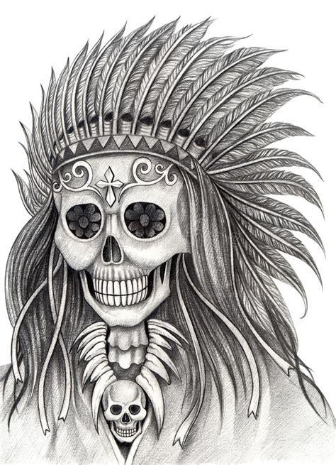 art skull indian day   dead festival stock