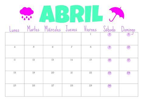 Calendario 9 De Abril Organiza T Calendario De Abril Gratis Para Descargar