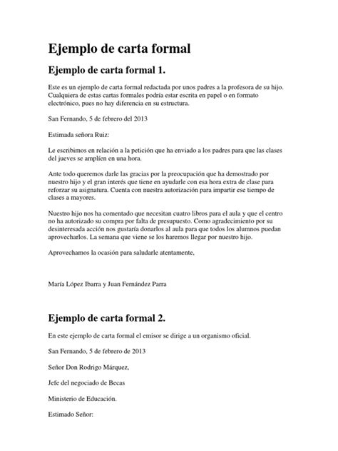 una carta para lily ejemplos de carta formal