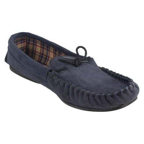 fleece lined moccasin slippers mens spot on mocc v moccasin fleece lined slippers