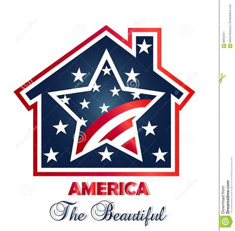 American Home Design Logo Patriotic House Logo Stock Vector Image 89422611