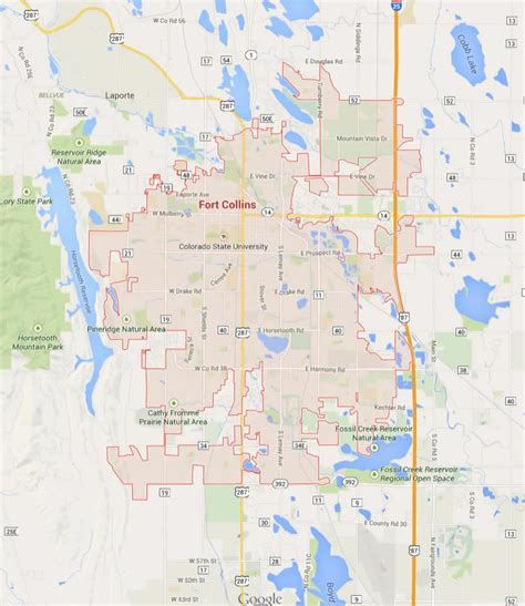 fort map fort collins colorado map