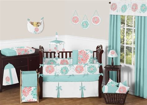coral and turquoise baby bedding turquoise and coral emma baby bedding 9 pc crib set by sweet jojo designs only 189 99