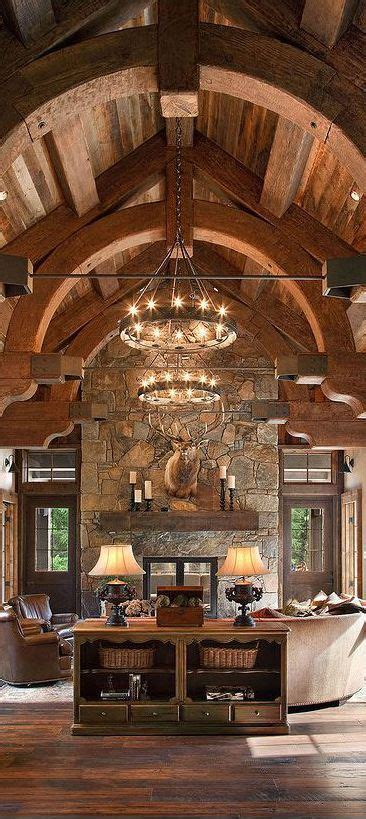cozy cabin rustic cabin interiors pinterest vaulted elegant and rustic decor love the curved beams and double