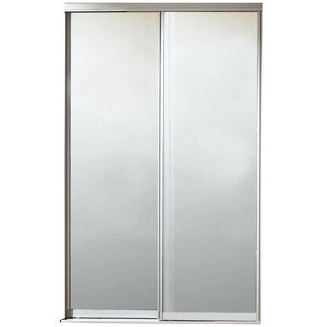 Contractors Wardrobe Closet Doors Contractors Wardrobe 60 In X 81 In Silhouette Mystique Glass Satin Clear Finish Aluminum