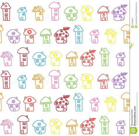 imagenes vectores infantiles hand drawn houses seamless pattern childish stock vector