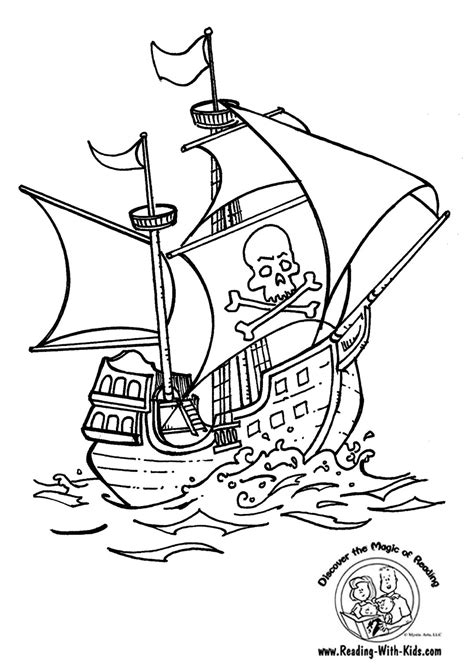 Pirate Ship Coloring Page by And Coloring Pages