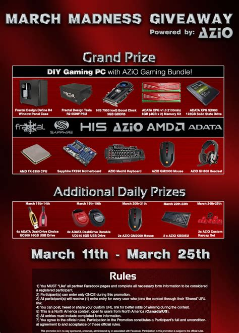 March Madness Sweepstakes - march madness giveaway custom pc review