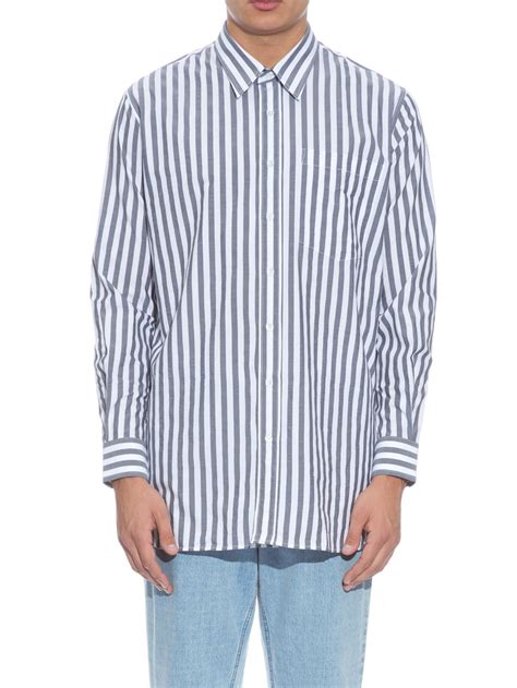 oversize white stripe ami oversized striped cotton shirt in black for lyst