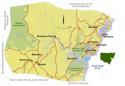 map of nsw central coast road maps central coast nsw