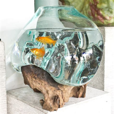 Nautica Home Decor Glass Pot Or Fishbowl With Wood Root Base Big Size For