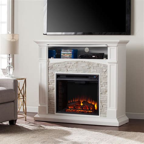 Southern Enterprises Conway 45 75 In W Electric Media Rock Electric Fireplace