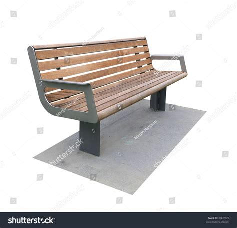 modern park bench modern park bench on concrete pad stock photo 8068999