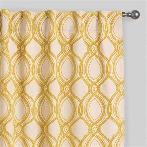 Concealed Tab Curtains Citron Ventura Flocked Concealed Tab Top Curtains Set Of 2 World Market