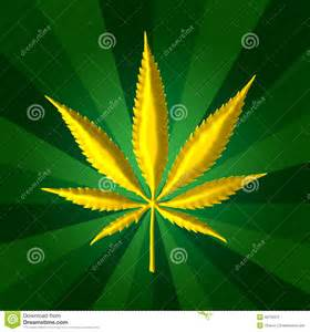 Cannabis leaf plant in gold color with sun ray textured background for