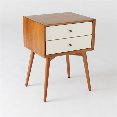 Bedside Table Mid Century Bedside Table White Acorn West Elm Au
