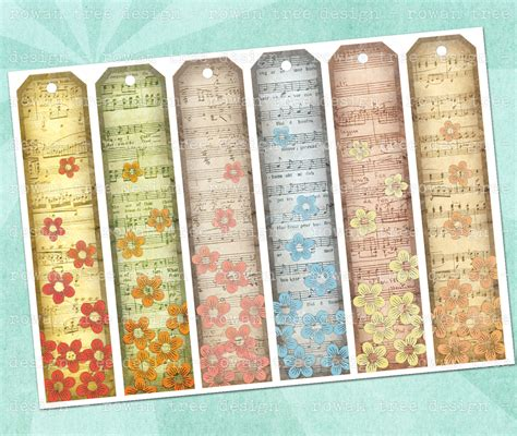 printable music bookmarks 4 best images of printable bookmarks with flowers part