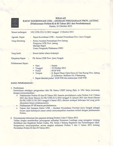 Contoh Format Risalah Rapat by Risalah Rapat Lpjkd Dengan Asosiasi Perusahaan 171 Inkindo