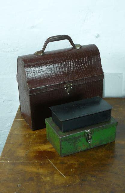eye catching vintage thermos tin mock croc briefcase