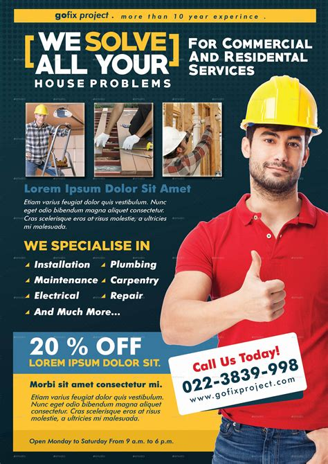 Home Repair Flyer Template By Adimasen Graphicriver Home Improvement Flyer Template Free