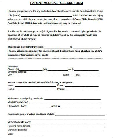 parent release form template 9 release form sle free sle exle