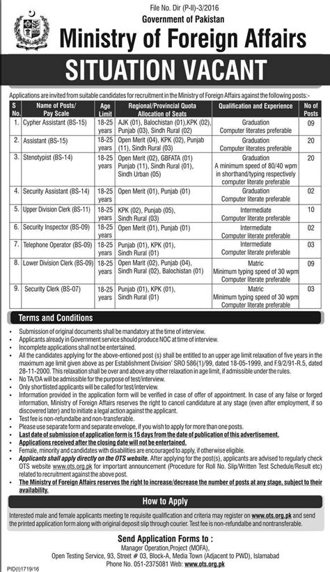 Mofa Jobs 2018 by Ministry Of Foreign Affairs Mofa Islamabad Jobs 2016 For