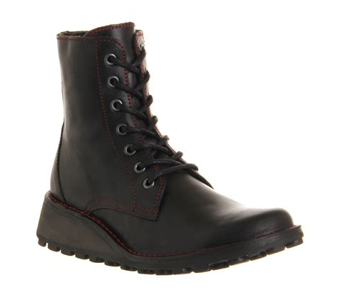 womens fly marv lace up ankle boot black rug boots