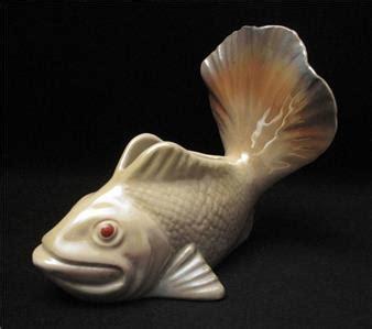 signed vintage wembley ware lustre fish shaped float vase