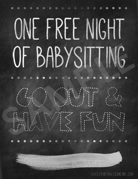 babysitting voucher template free one free of babysitting free printables